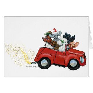 Cartes de Noël rouges de voiture de caniches des