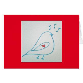 Cartes de note bleues de chant d'oiseau et de