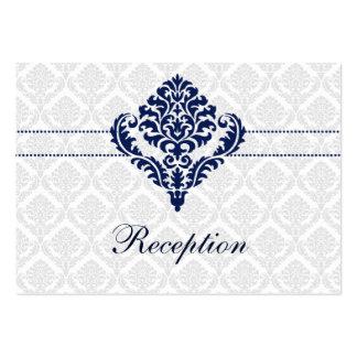 """cartes de réception de mariage damassé """"de bleu carte de visite grand format"""