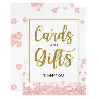 Cartes de rose et d'or et signe nuptiale de douche carton d'invitation  12,7 cm x 17,78 cm