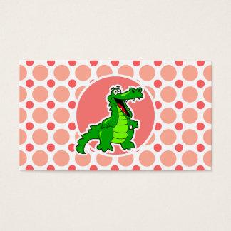 Cartes De Visite Alligator ; Pois rose et de corail