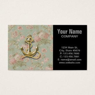 Cartes De Visite Ancre nautique girly florale chic minable