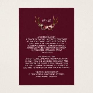 Cartes De Visite Andouillers floraux de Bourgogne Marsala épousant