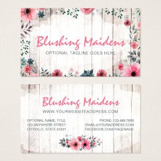 Cartes De Visite Anémone rose chic minable en bois rustique de