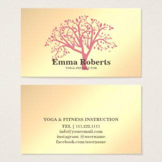 Cartes De Visite Arbre rose d'or d'instructeur élégant de yoga