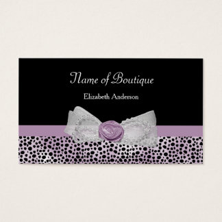 Cartes De Visite Arc féminin de guépard de boutique pourpre Girly