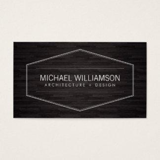 Cartes De Visite Architecte en bois foncé d'emblème moderne
