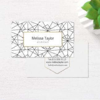 Cartes De Visite Architecte géométrique blanc de faux de noir