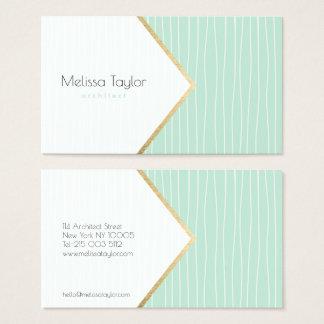 Cartes De Visite Architecte géométrique vert en pastel moderne de