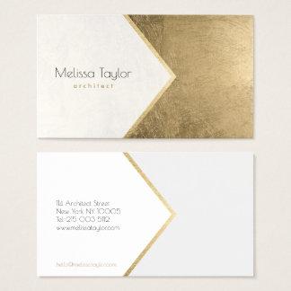 Cartes De Visite Architecte simple moderne de blanc de feuille d'or