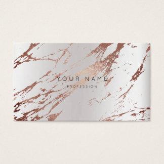Cartes De Visite Argent de marbre rose de rendez-vous de résumé