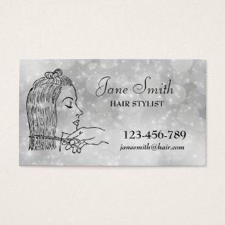 Cartes De Visite Argent élégant de coiffeur de coiffeur