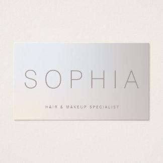 Cartes De Visite Argent lumineux minimaliste de beauté moderne chic