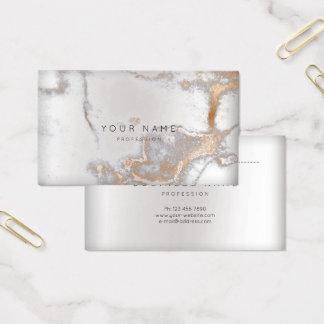 Cartes De Visite Argent rose de rendez-vous de marbre d'en cuivre