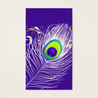 Cartes De Visite Arrière - plan blanc de la plume de paon de