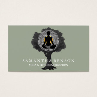 Cartes De Visite Art élégant de logo d'arbre de pose de yoga de