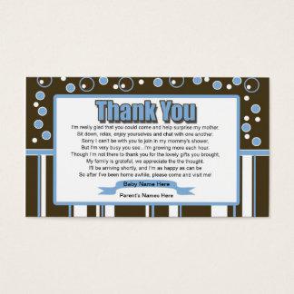 Cartes De Visite Baby shower de bleu de métro