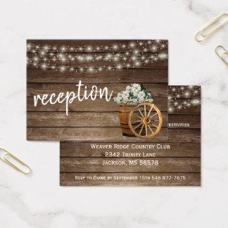 Cartes De Visite Baril en bois rustique et floral blanc - réception