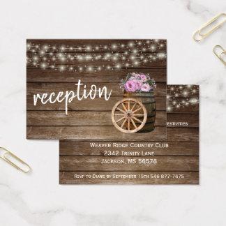 Cartes De Visite Baril en bois rustique et floral rose - réception