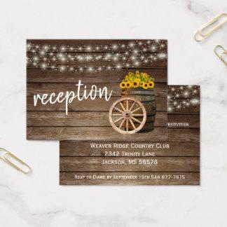 Cartes De Visite Baril et tournesols en bois rustiques - réception