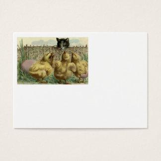 Cartes De Visite Barrière d'oeufs de poussin de Pâques de chat de
