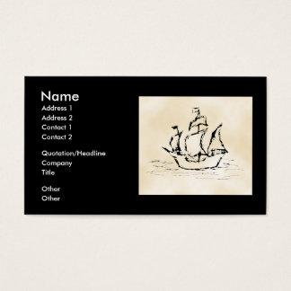 Cartes De Visite Bateau de pirate. Fond de motif de parchemin