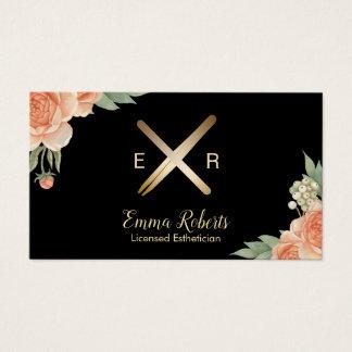 Cartes De Visite Bâton de cire d'Esthetician et floral chic de logo