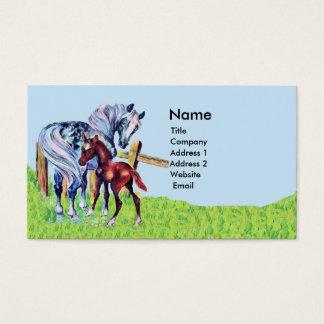 Cartes De Visite Bébé en pastel de cheval de mère dans la barrière
