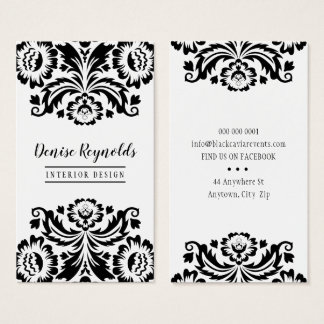 Cartes De Visite Blanc élégant de noir de damassé d'AFFAIRES