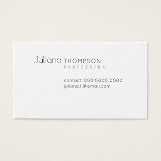 Cartes De Visite Blanc élégant minimaliste de prof.