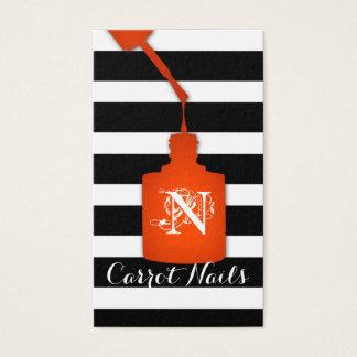 Cartes De Visite Blanc orange de noir de rayure de salon de clou de