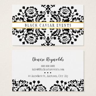Cartes De Visite Blanc vintage de noir d'or de motif de DAMASSÉ