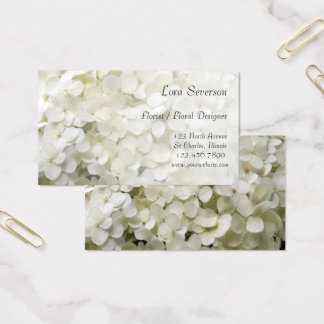 Cartes de visite blancs de fleuriste d'hortensia