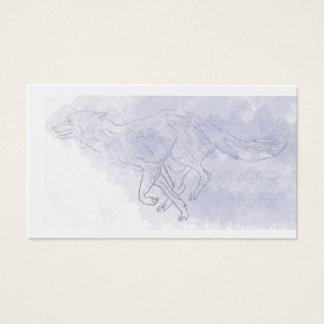 Cartes De Visite Bleu pour aquarelle courant de fantôme de loup