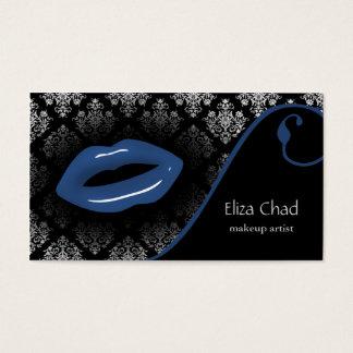 cartes de visite bleus de maquilleur