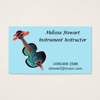 Cartes de visite bleus de professeur de musique