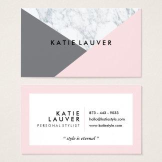 Cartes De Visite Bloc gris rose de marbre blanc moderne de couleur