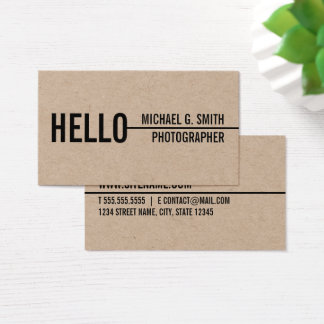 """Cartes De Visite """"Bonjour"""" papier d'emballage minimaliste moderne"""