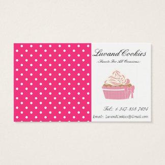 Cartes De Visite Boulangerie à pois rose de petit gâteau