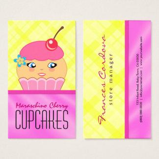 Cartes De Visite Boulangerie rose et jaune de Baker de caractère de