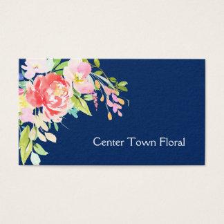 Cartes De Visite Bouquet d'aquarelle sur le fleuriste de bleu