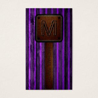 Cartes De Visite Brown en bois pourpre simili cuir