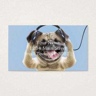 Cartes De Visite Carlin avec des écouteurs, carlin, animal familier