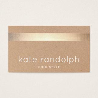 Cartes De Visite Carton rayé de Papier d'emballage Tan d'or frais