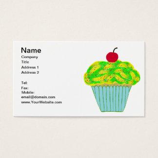 Cartes De Visite Cerise sur le petit gâteau jaune et vert supérieur