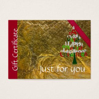 Cartes De Visite Certificat-prime de Joyeux Noël de vacances