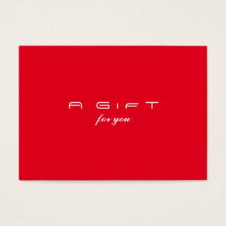 Cartes De Visite Certificat rouge simple et moderne de cadeau