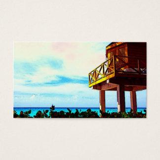 Cartes De Visite Chambre de plage avec la vue d'océan