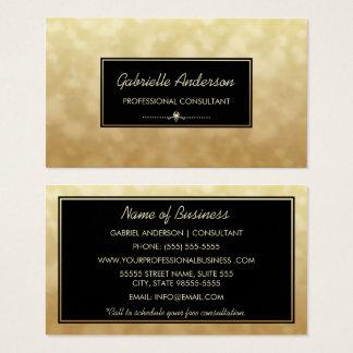 Cartes De Visite Charme professionnel Bokeh d'or de noir de