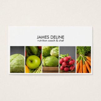 Cartes De Visite Chef blanc élégant moderne de nutritionniste de